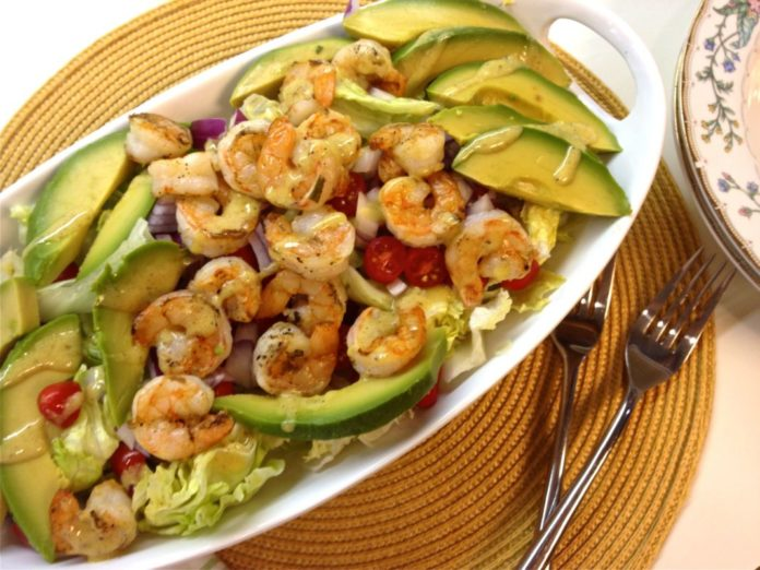Flavorful Grilled Shrimp and Avocado Salad with a wonderfully tangy Lemon Mustard Vinaigrette. A wonderful main dish salad.   ZagLeft