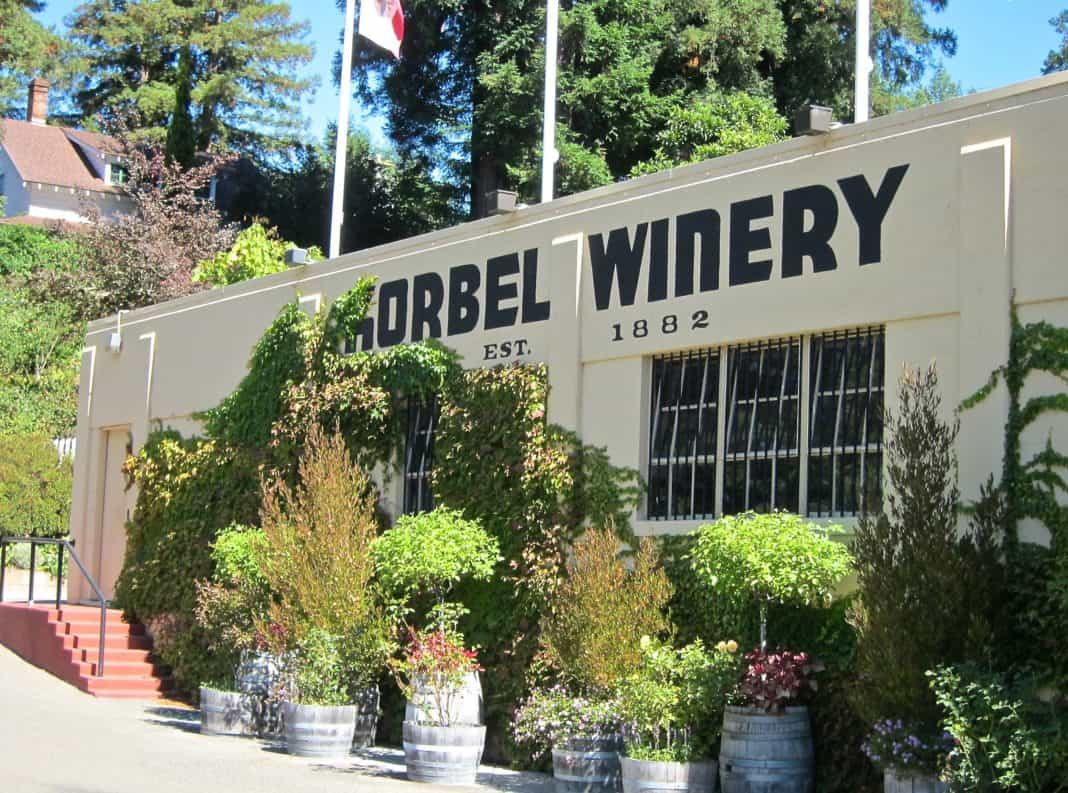 The outside of the Korbel Winery building