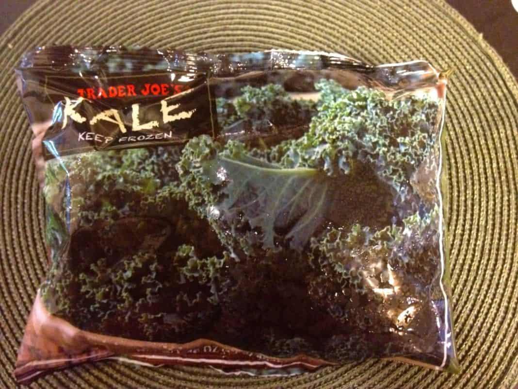 A bag of frozen kale