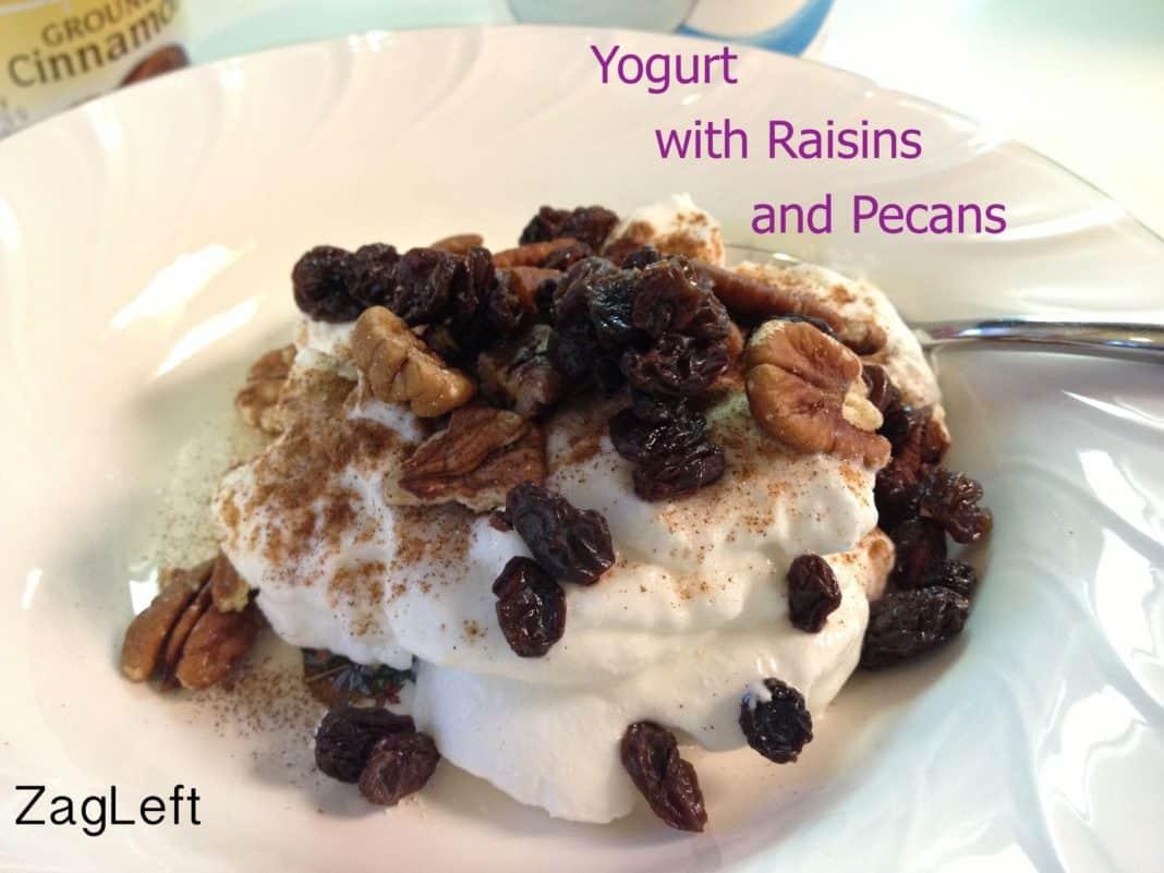 A bowl of Greek yogurt topped with cinnamon, raisins, and pecans