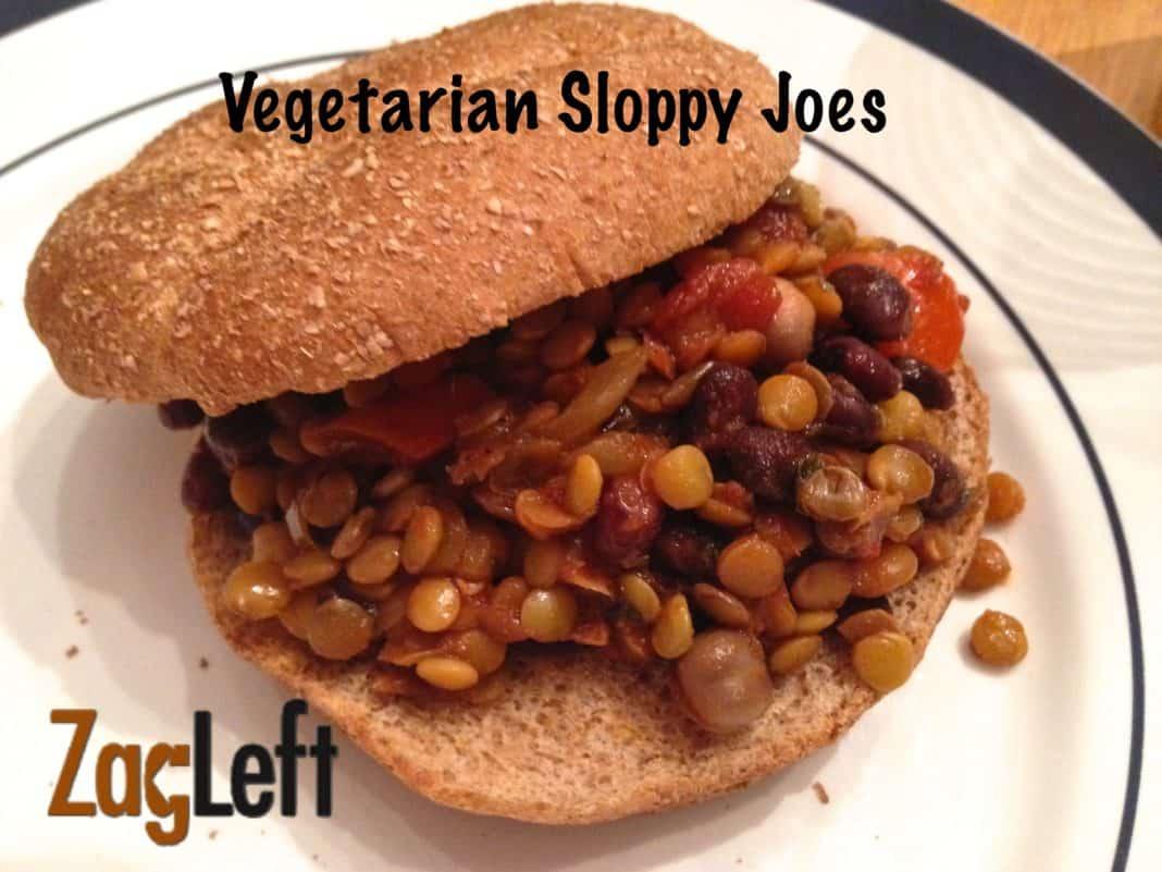 Vegetarian Sloppy Joe on a whole wheat hamburger bun on a plate