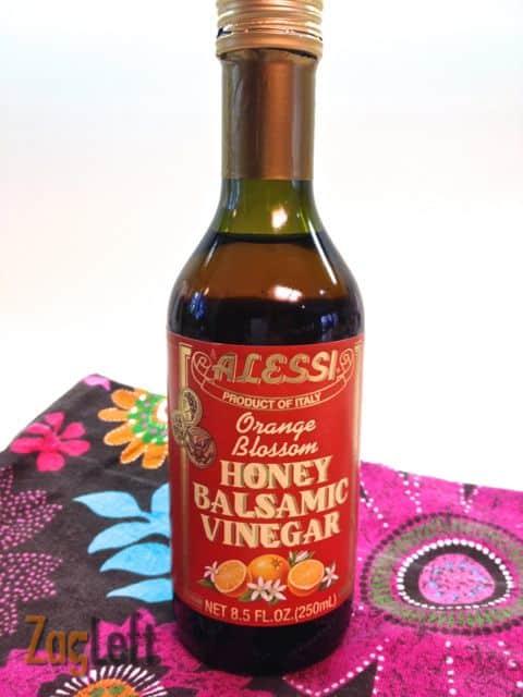 A bottle of orange blossom honey balsamic vinegar