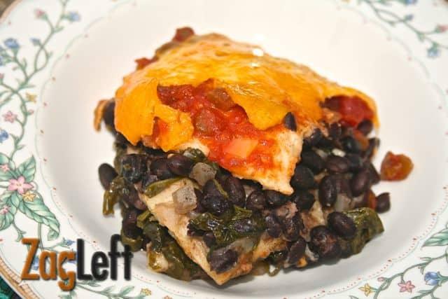 Slow Cooker Black Bean Enchilada Casserole from ZagLeft