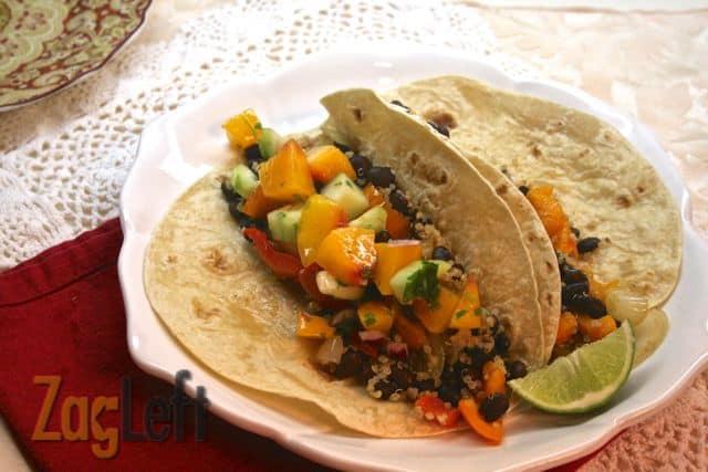 Peach Salsa from ZagLeft shown with black bean and quinoa burritos