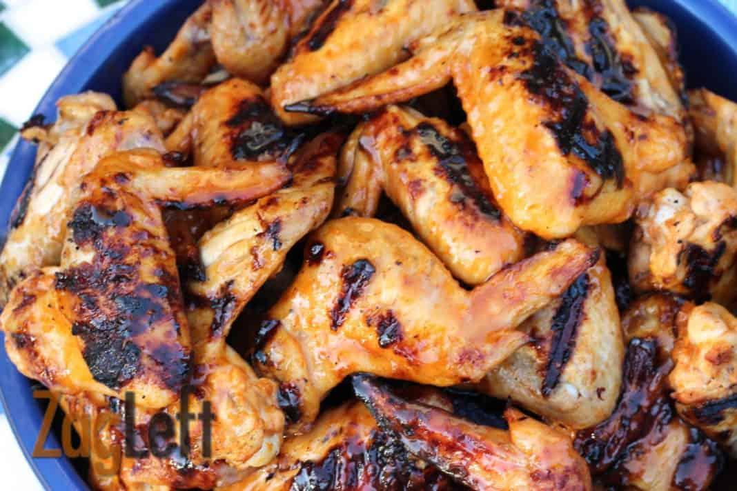 A closeup of Zesty Honey Sriracha Grilled Chicken Wings