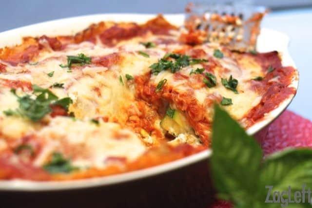 Pumpkin Lasagna in a baking dish