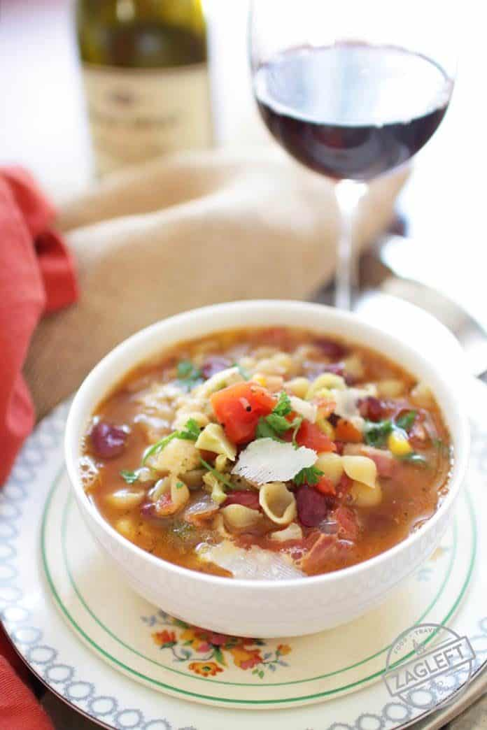 Minestrone Soup For One - Cooking in college doesn't have to be hard. Here's a list of easy single serving recipes that are perfect for busy college students. This Week Of Easy Recipes For College Students features recipes for Minestrone Soup For One, Salisbury Steak For One, Quesadillas and more! | One Dish Kitchen