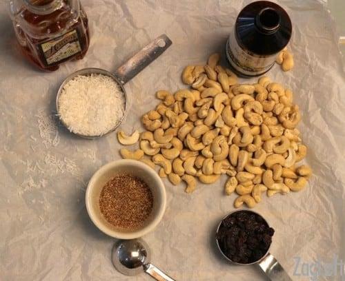 Gluten Free Coconut Cashew Cookies - ingredients - ZagLeft