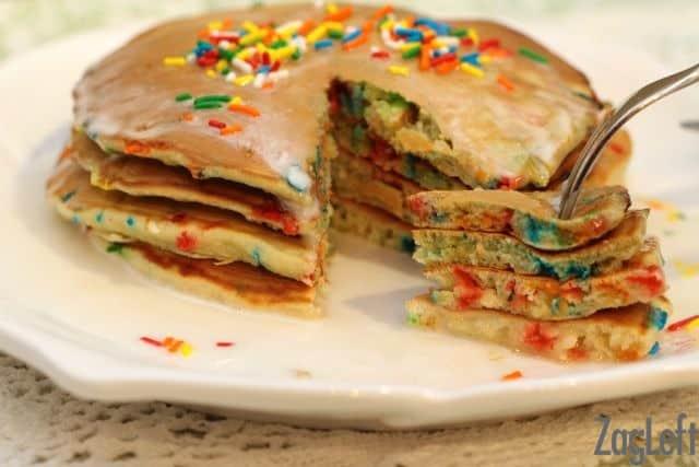 Cake Batter Sprinkle Pancakes from ZagLeft