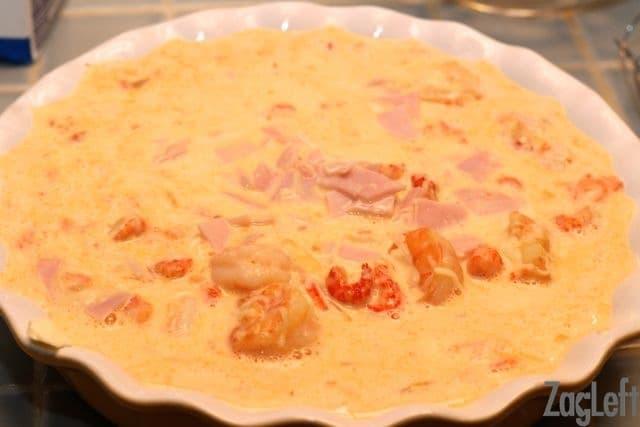 Creole Crustless Quiche - pour into pan - ZagLeft
