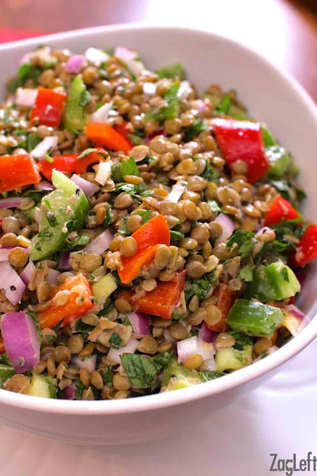Closeup of a bowl of Lentil Salad