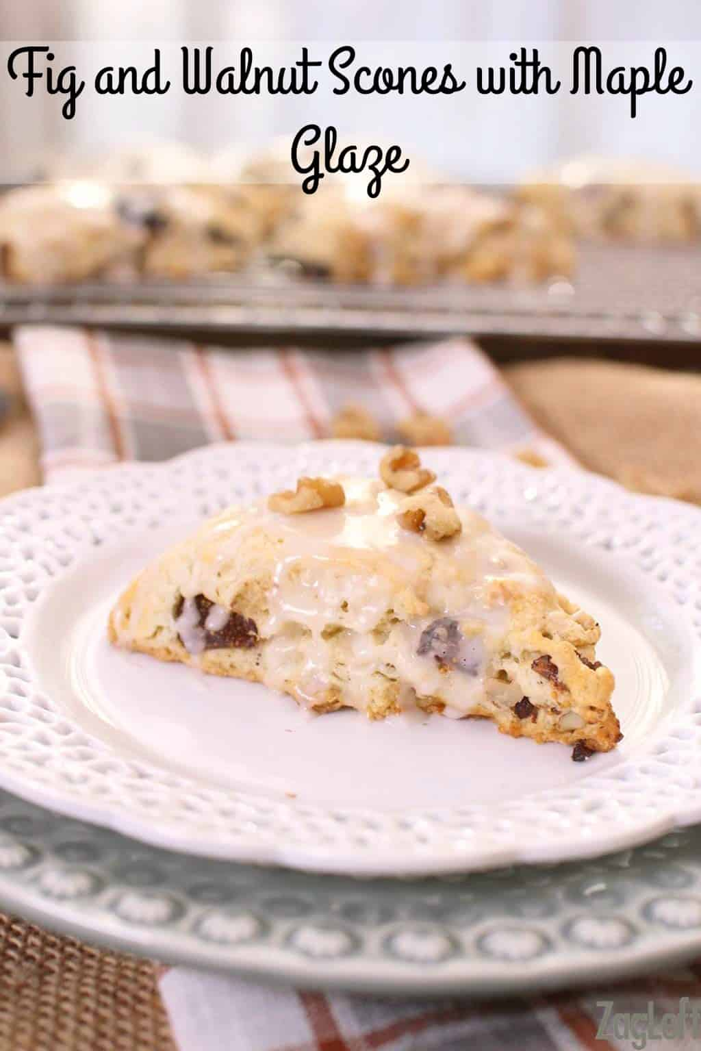 These buttery Fig and Walnut Scones topped with a sweet Maple Glaze are easy to make and perfect for breakfast or as an afternoon treat…| www.zagleft.com