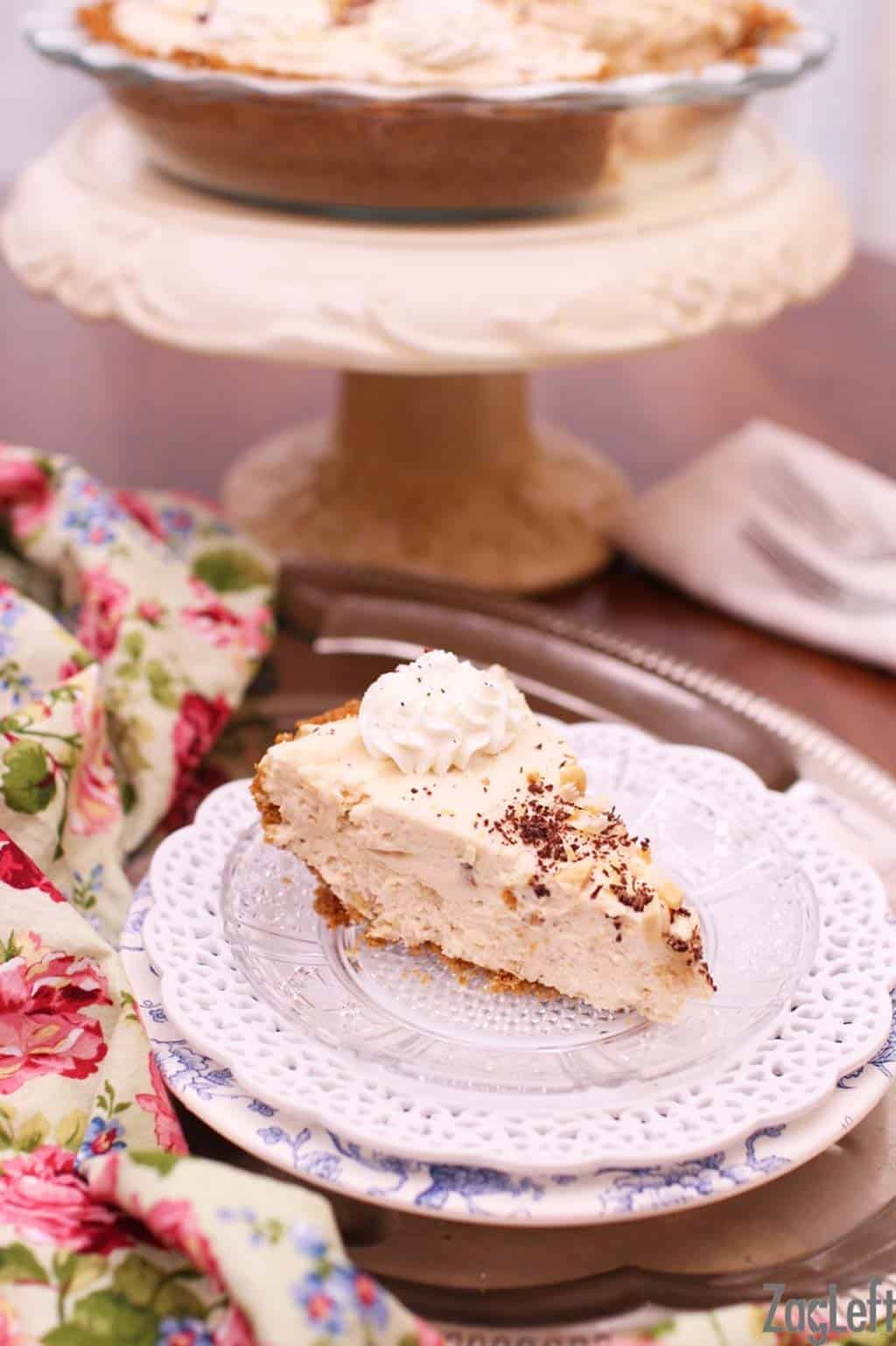 Rich, creamy and super fluffy Peanut Butter Marshmallow Cream Pie made with peanut butter and marshmallow fluff. Also known as a Fluffernutter Pie, this almost no-bake dessert is going to become one of your favorites! www.zagleft.com
