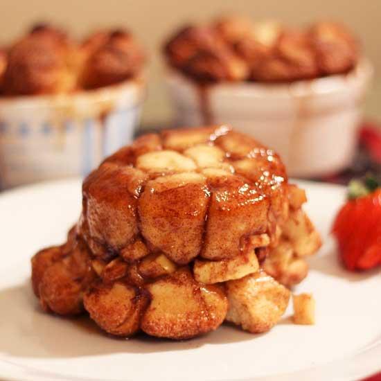 apple fritter monkey bread on a plate