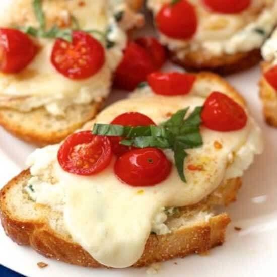 caprese toast on a plate